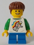 Boy, Classic Space Shirt with Minifigure Floating and Back Print, Blue Short Legs, Reddish Brown Hair (cty1046)
