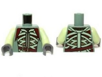 Torso LotR Armor with Light Green and Dark Red Straps and Belt Pattern / Yellowish Green Arms / Dark Bluish Gray Hands (973pb1448c01 / 6043146)
