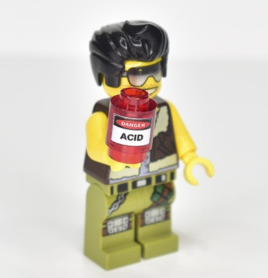 "Brick round 1x1 ""Danger Acid"""